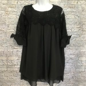 Simply Couture Tunic Sheer Lined Blouse XL NEW